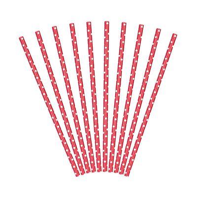 Rote Strohhalme mit Pünktchen-Muster