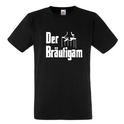 Schwarzes T-Shirt mit Aufdruck Der Bräutigam