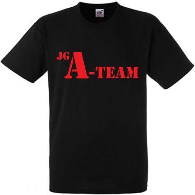 Schwarzes Junggesellenabschied-Shirt mit JGA-Team-Motiv