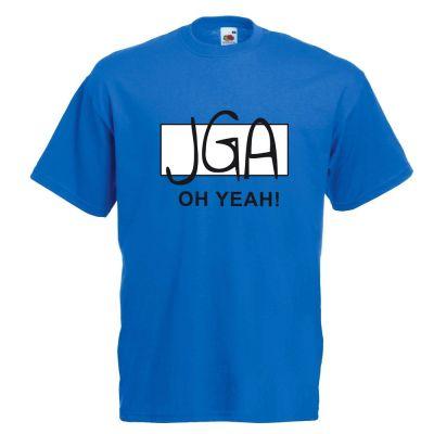 Blaues Bräutigam-Shirt mit Oh Yeah-Motiv