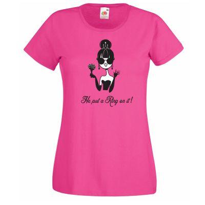 T-Shirt in Pink mit Braut-Motiv