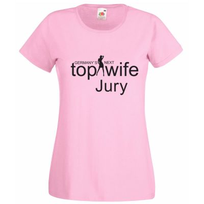 "JGA-Shirt in Rosa mit Aufdruck ""Germany`s Next Top Wife - Jury"""