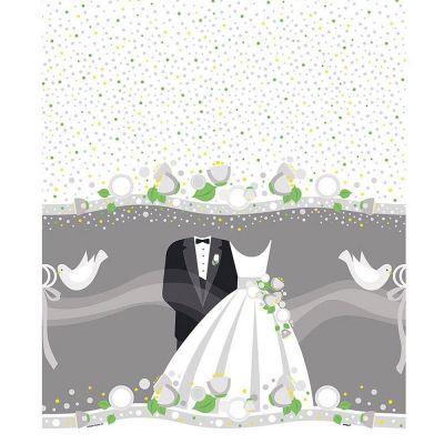 Polterabend-Tischdecke im Hochzeitsdesign