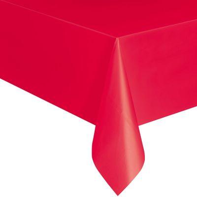 Rote Plastiktischdecke