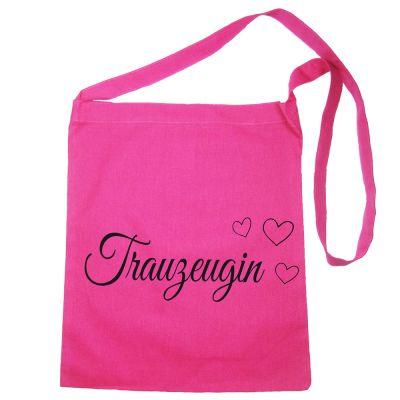 Pinkfarbene Baumwolltasche mit Trauzeugin-Schriftzug und Herzen