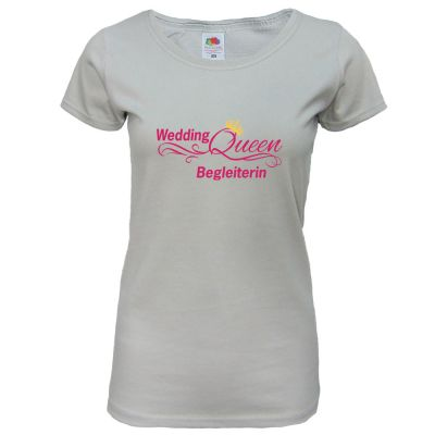 "T-Shirt ""Wedding Queen - Begleiterin"" - Hellgrau"