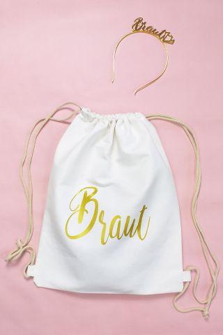 JGA Braut-Accessoires - Gold-Haarreif und Beutel
