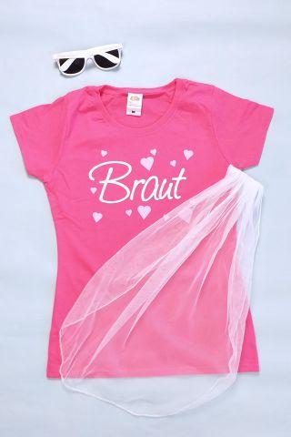 JGA Braut-Kleidung und Accessoires in Pink-Weiss