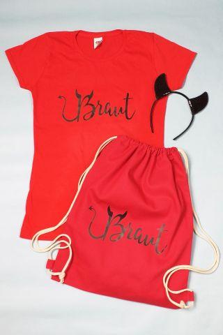 Rotes Braut JGA-Kostüm Braut im Teufel-Stil