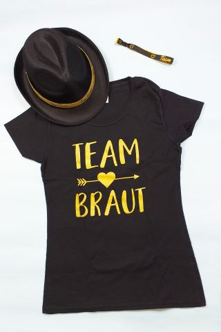 JGA Gruppen-Kostüm für Frauen in Schwarz-Gold
