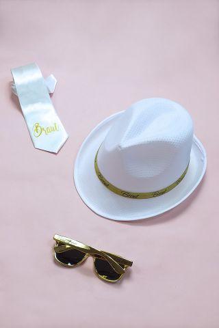 JGA Braut Kostüm-Set für Frauen im Gold-Design