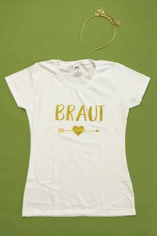 JGA Verkleidung für die Braut im Gold-Design