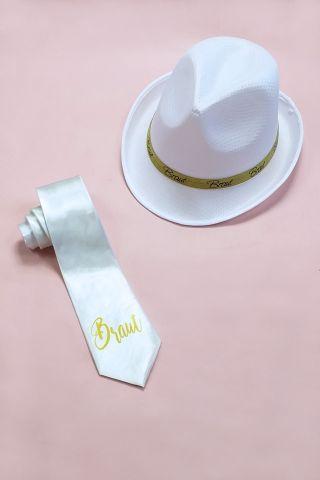 Junggesellinnenabschied-Artikel für die Braut in Weiss-Gold