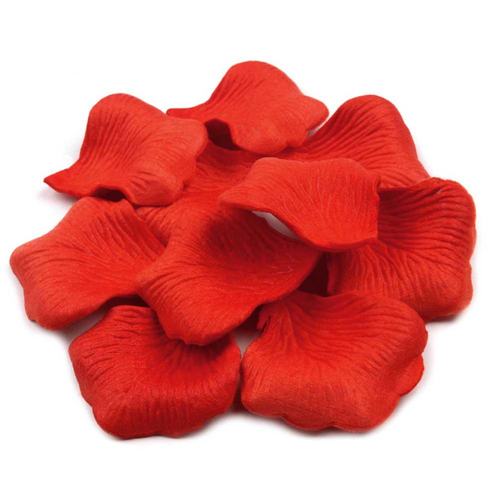 Deko-Rosenblätter aus Textilstoff in Rot