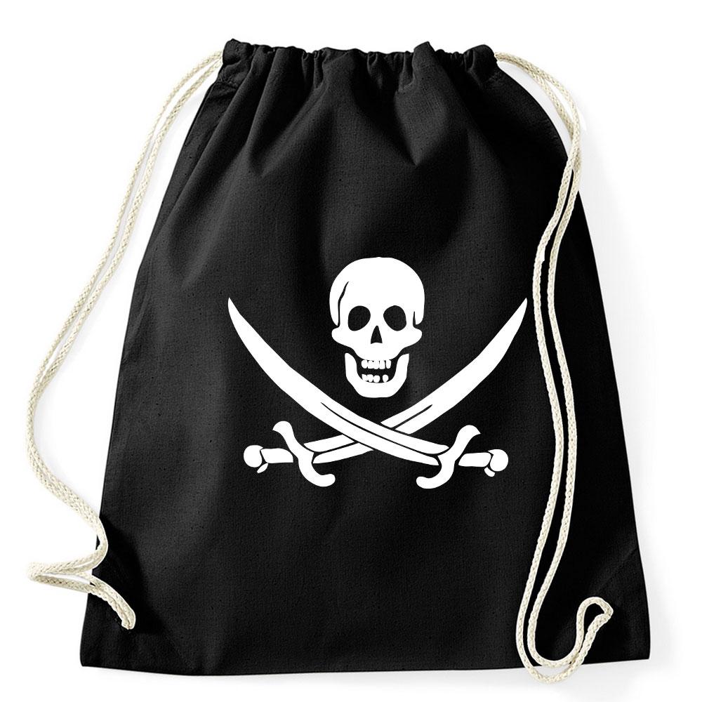 Schwarzer Rucksack mit Totenkopf für Piratenkostüme