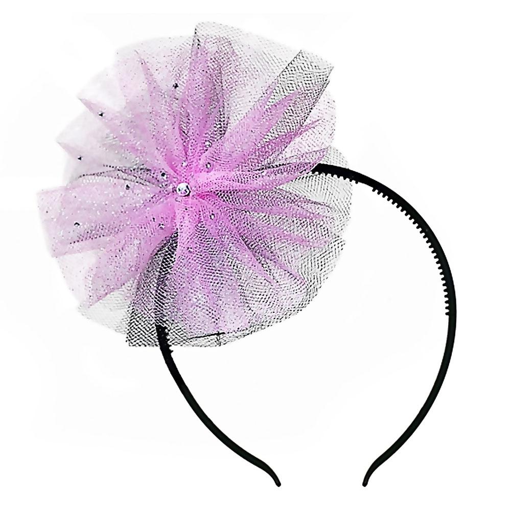 Haarreif mit Tüllschleife in Schwarz und Rosa