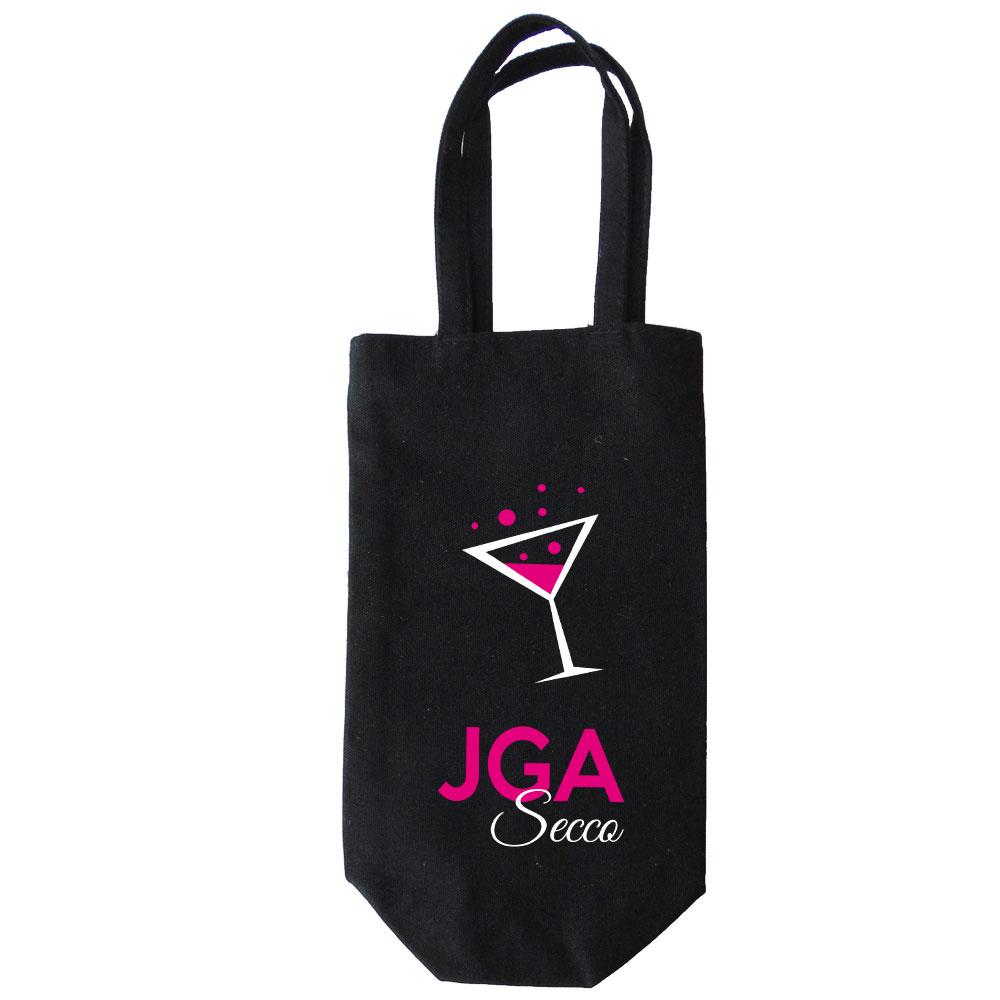 Schwarze Flaschentasche mit JGA Secco-Motiv