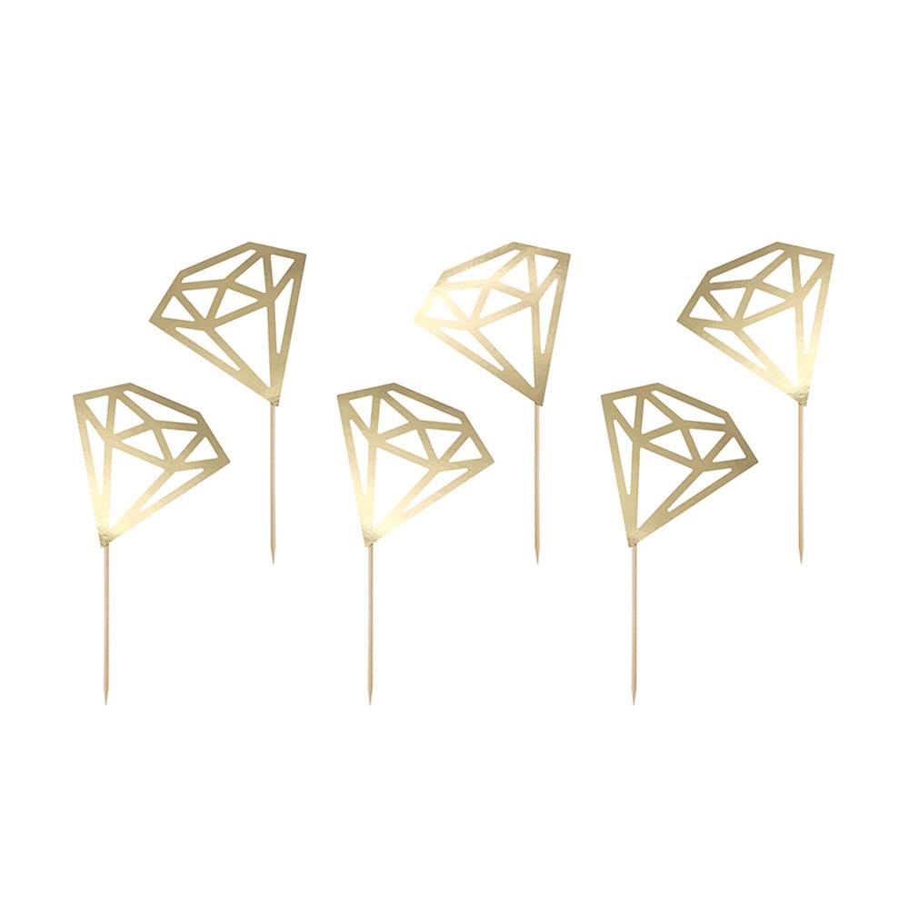 Goldfarbene Food-Picker im Diamant-Design