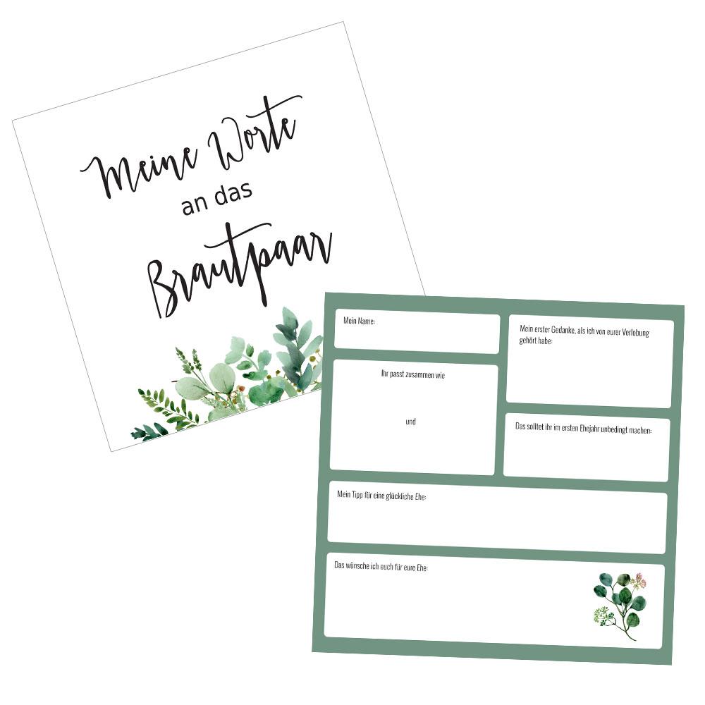 Gästebuch-Karten Greenery für Hochzeit und Polterabend