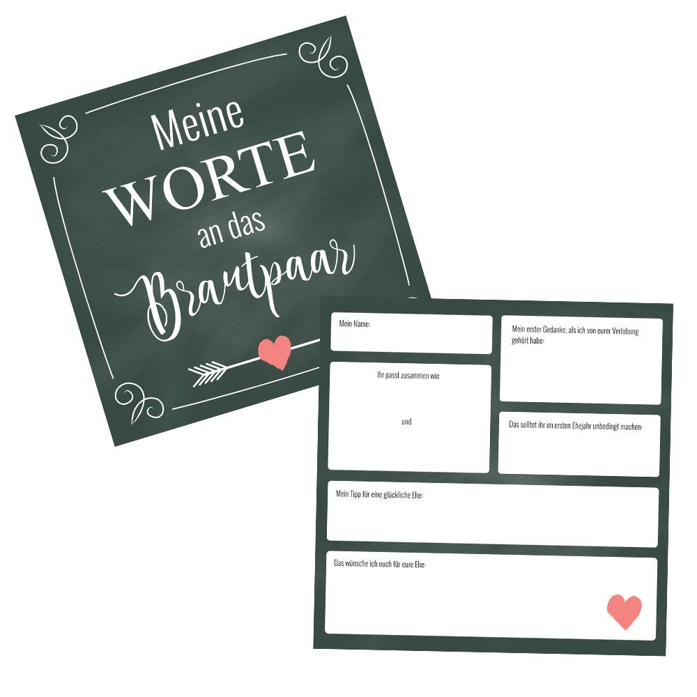 Gästebuch-Karten im Herz-Pfeil-Design für Hochzeit und Polterabend
