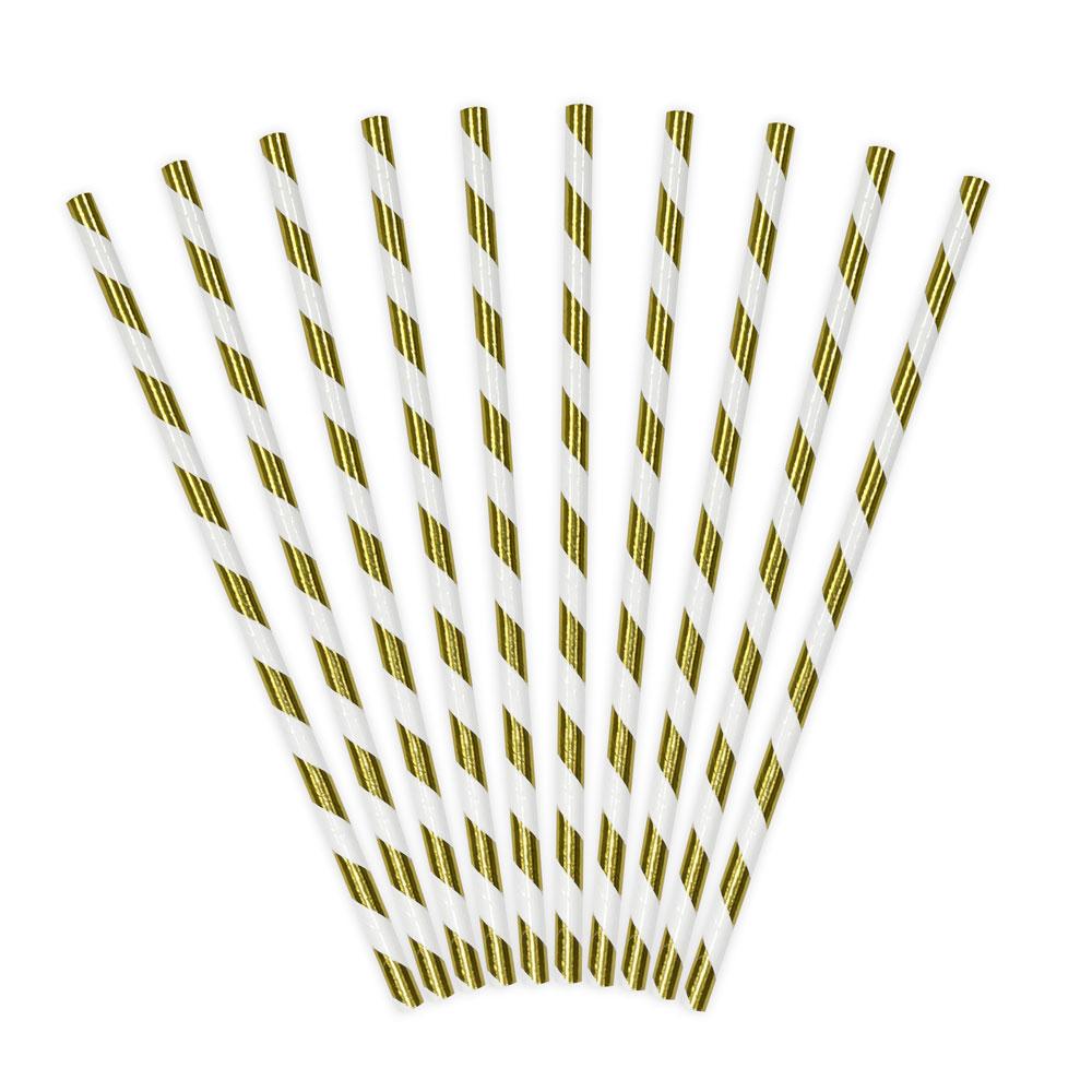Gestreifte Papier-Strohhalme in Weiss-Gold