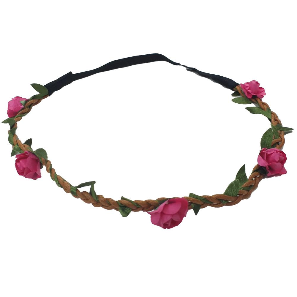 Pinkfarbenes Blumenkranz-Haarband - Kopfschmuck fuer den JGA