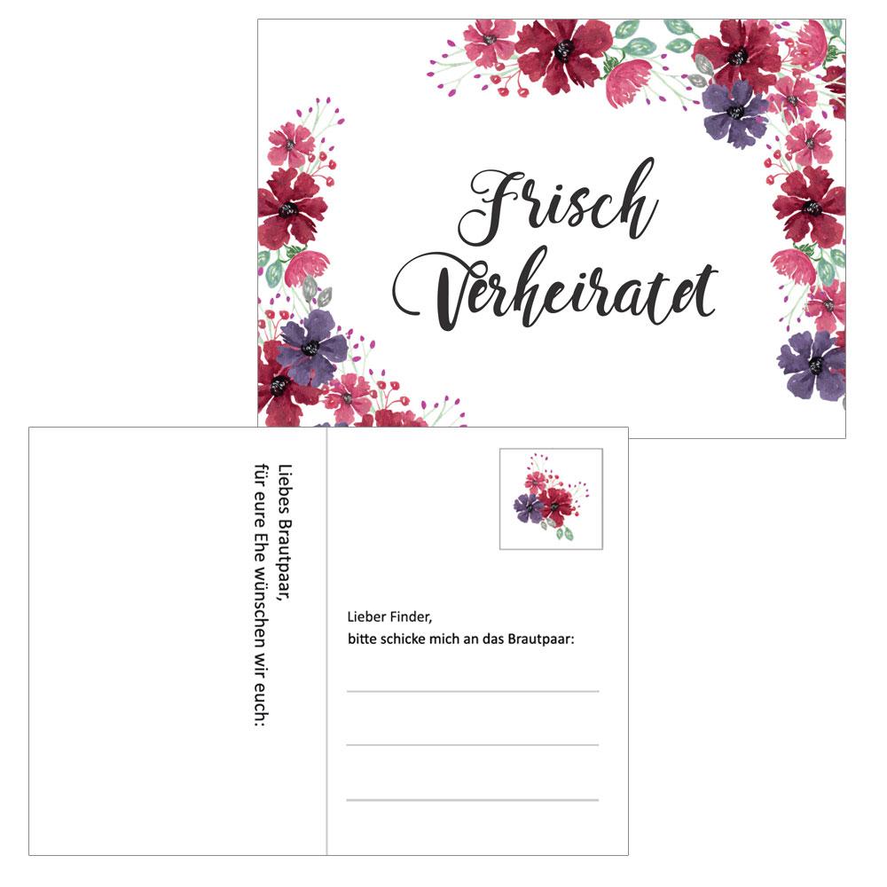 Hochzeit - Ballonkarten im Blumen - Blueten-Design
