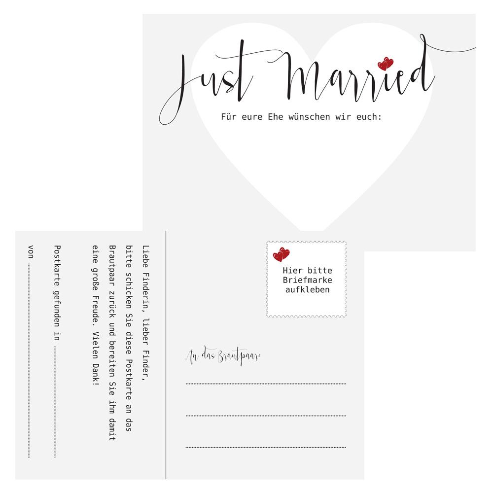 Hochzeit-Ballonflugkarten mit Just Married-Motiv in Hellgrau