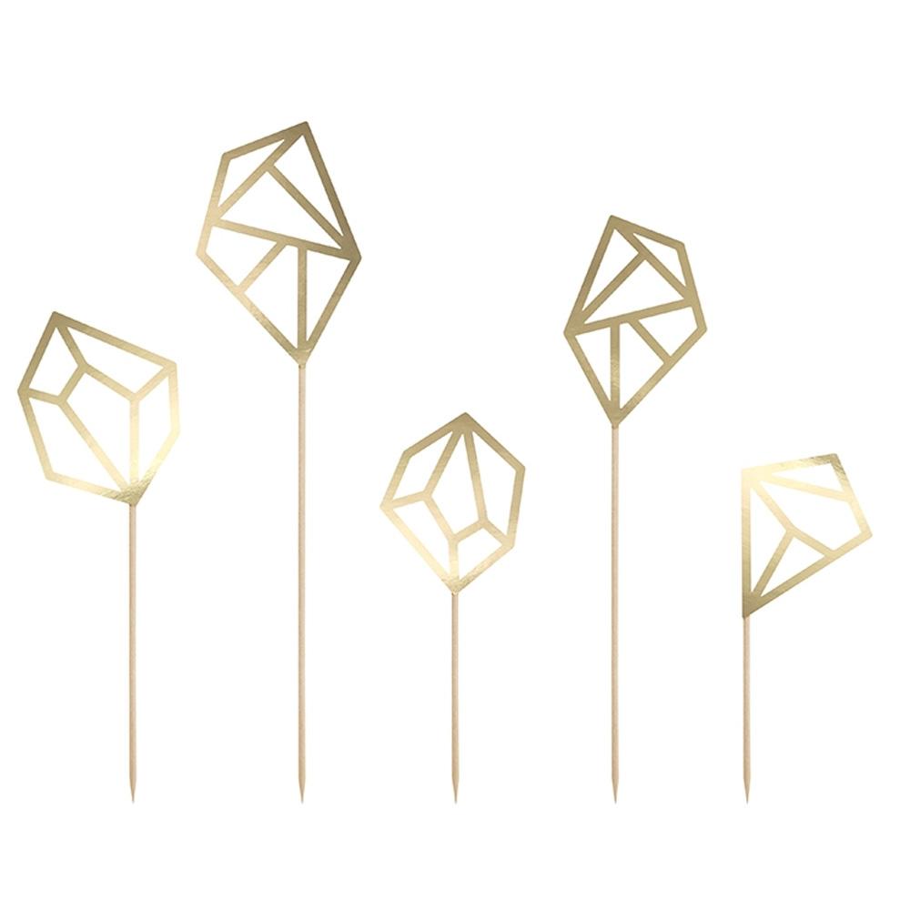 Goldfarbene Kuchen-Dekoration im Diamanten-Design
