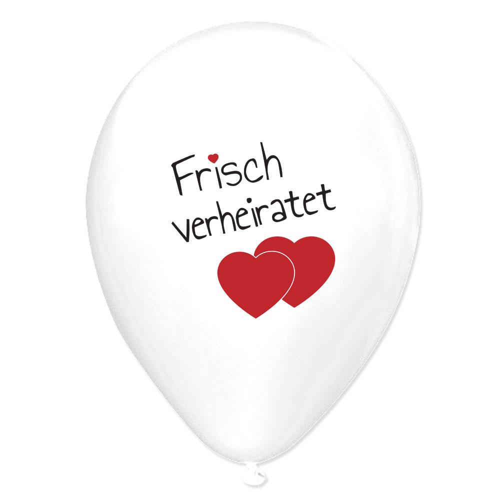 Weiße Hochzeit-Luftballons mit Frisch Verheiratet-Motiv für Ballonkarten