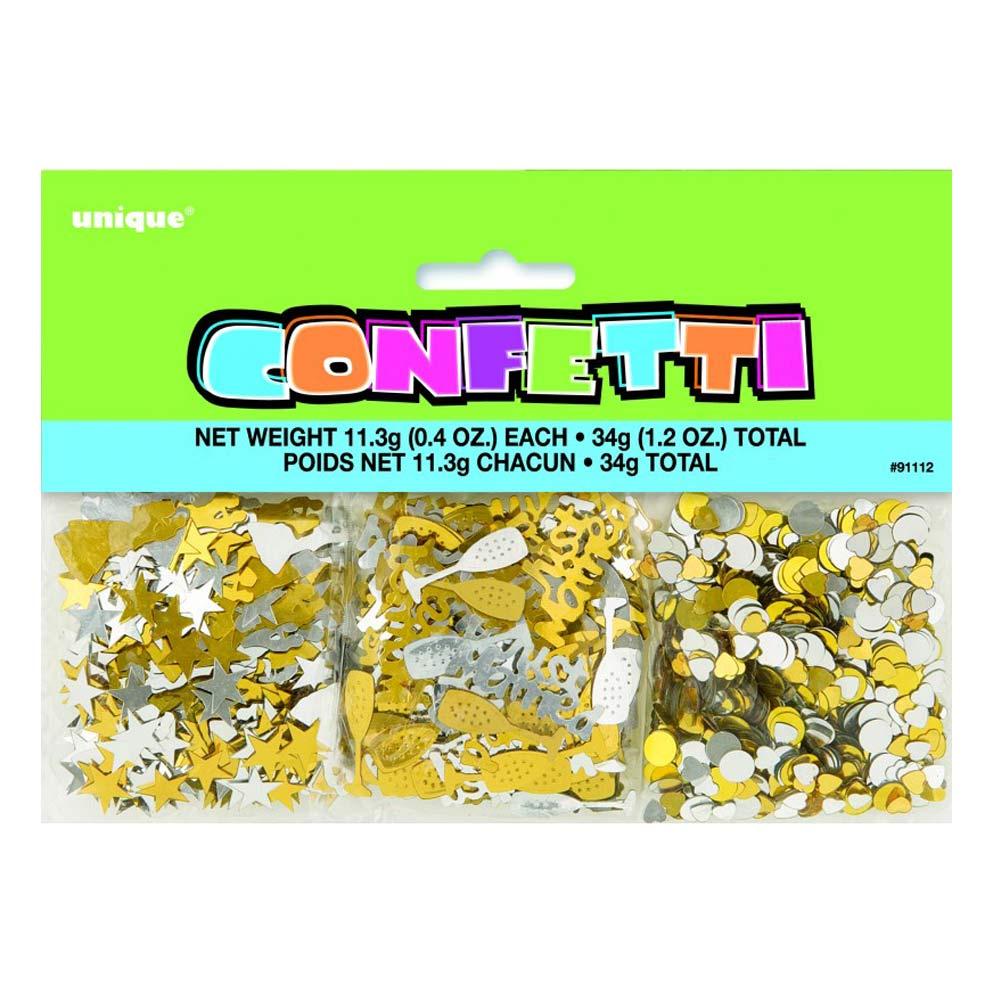 Tischkonfetti mit Hochzeitsmotiven in Silber und Gold