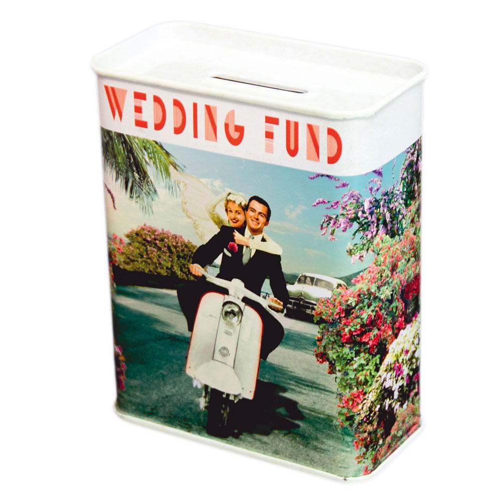 Hochzeitsspardose mit Brautpaar-Motiv im Retro-Design
