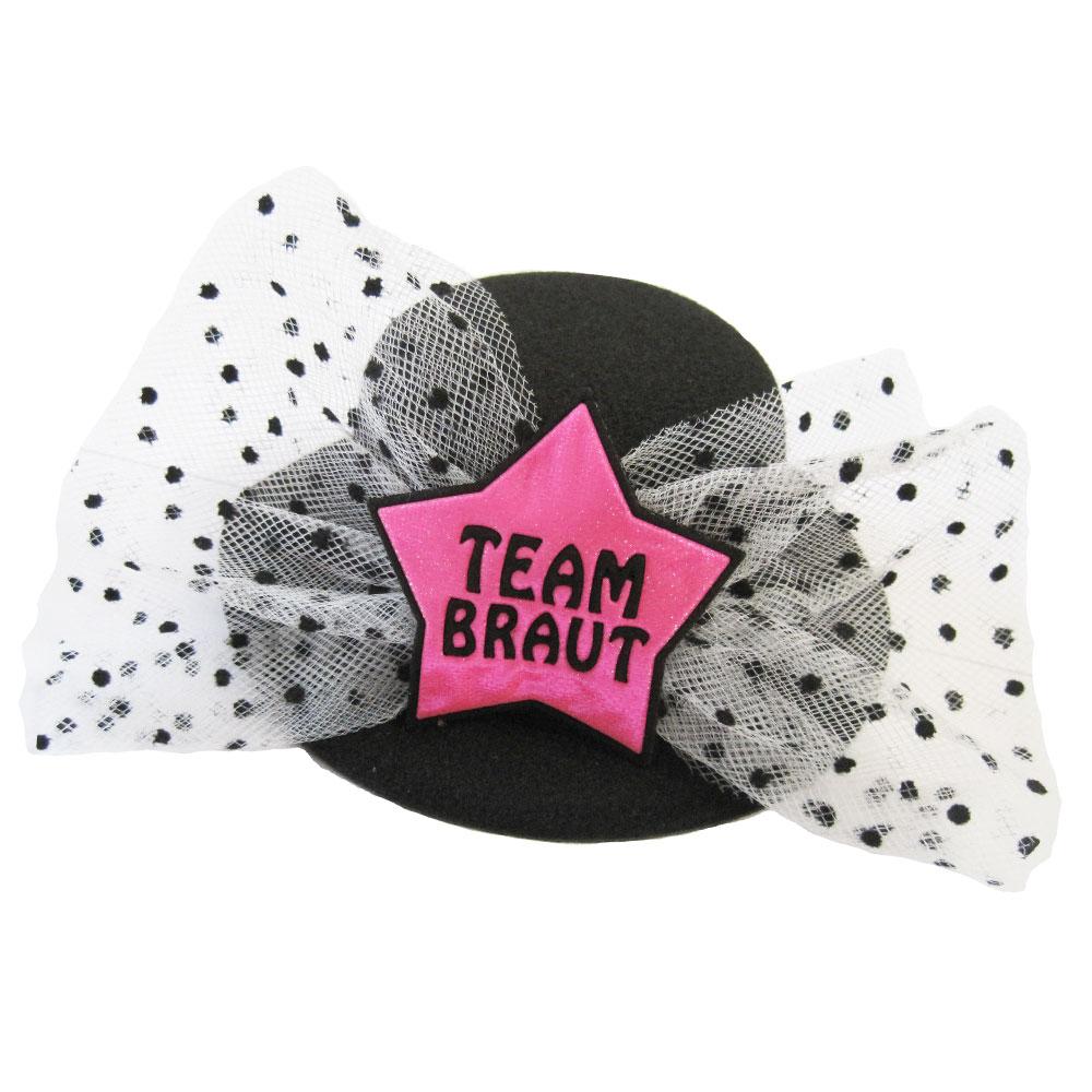Junggesellenabschied-Hut mit Team Braut-Motiv