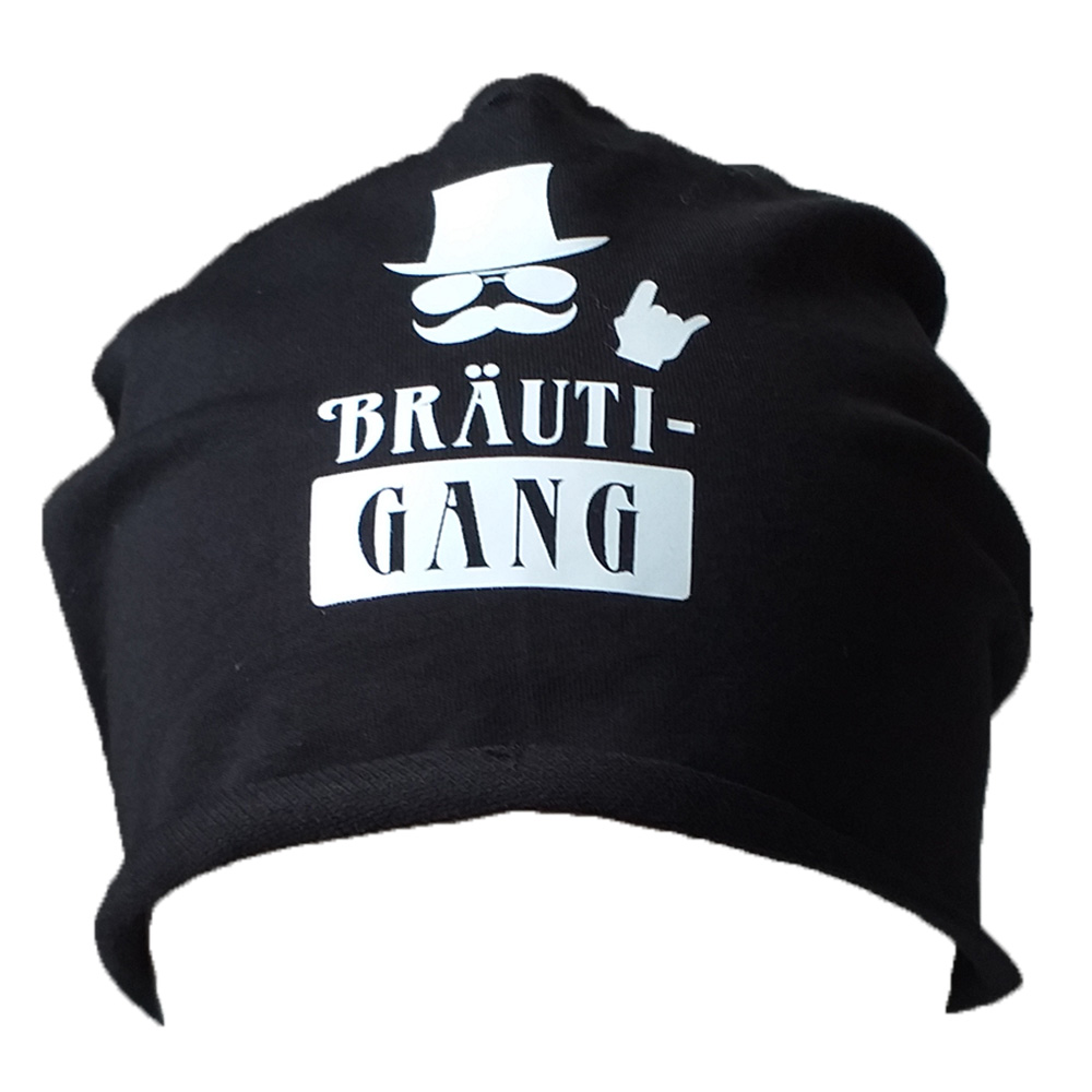 Schwarze JGA-Herren-Mütze mit BräutiGang-Aufdruck