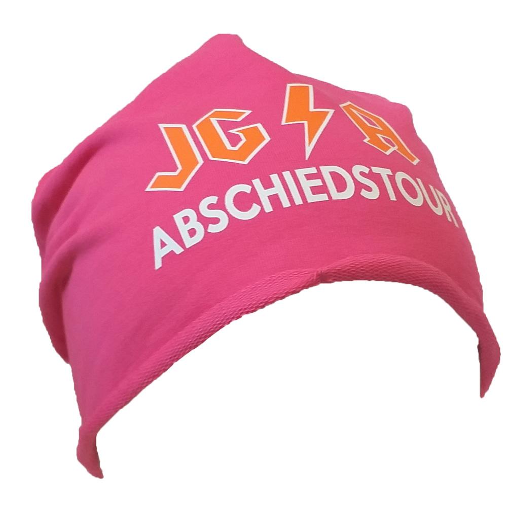 Pinkfarbene Herren JGA Beanie-Mütze mit Abschiedstour-Motiv