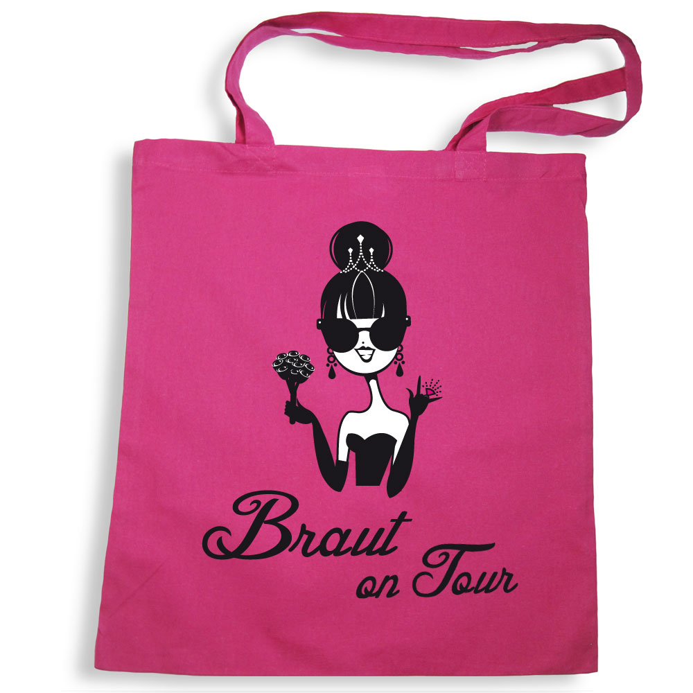 JGA Accessoire - Tote Bag mit Braut-Motiv in Pink