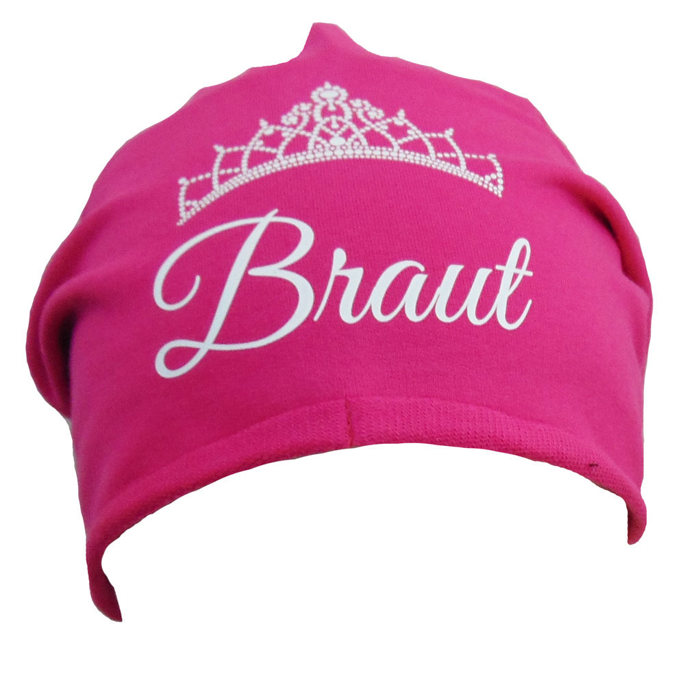 Pinkfarbene Braut-Mütze mit Diadem-Motiv für den JGA