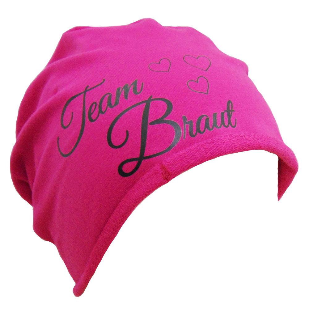 JGA Accessoire-Mütze Team Braut mit Herzen - Pink