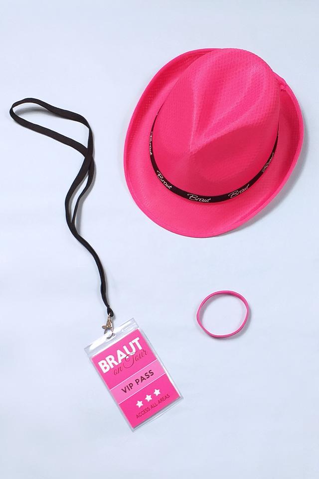 Pinkfarbenes JGA Accessoire-Set für die Braut