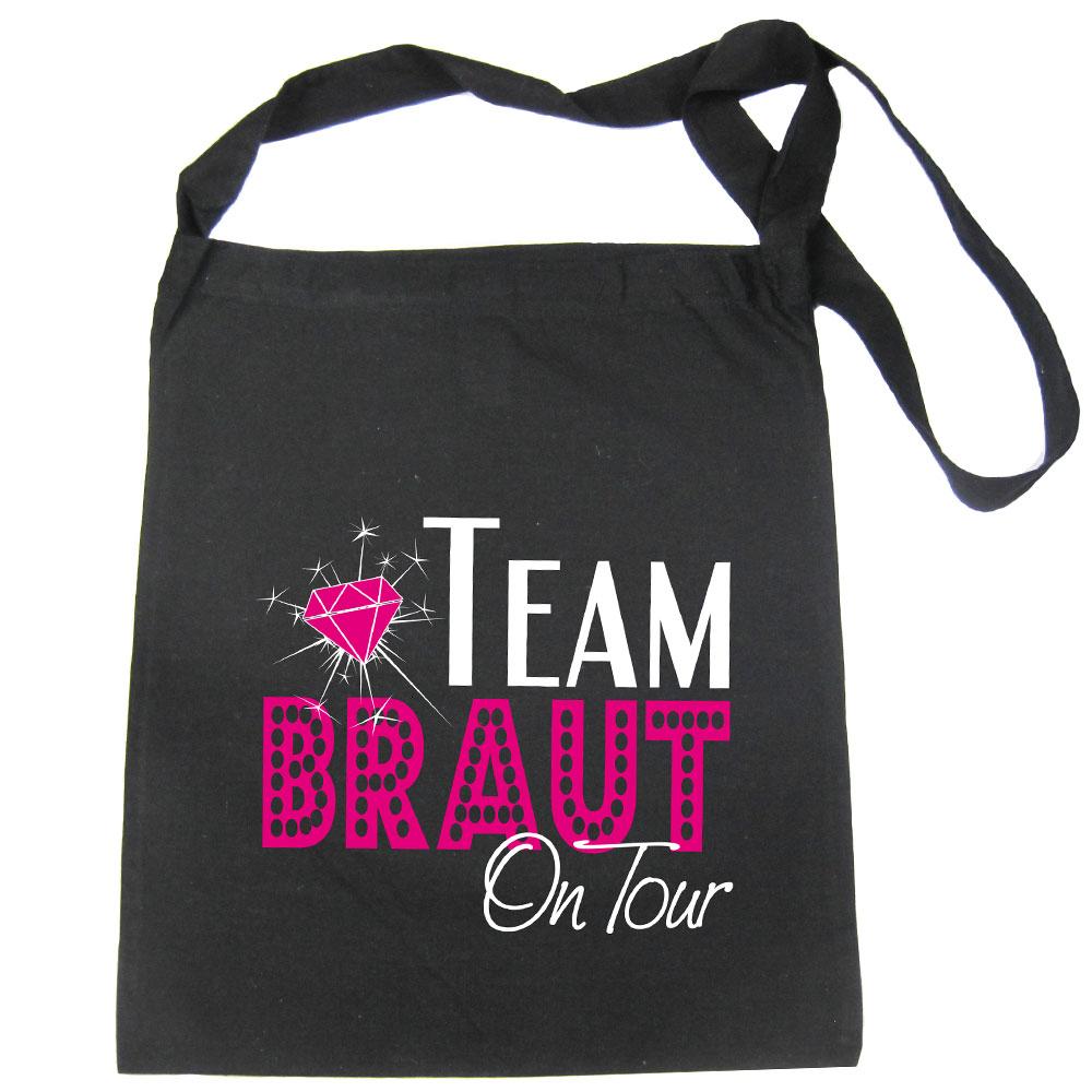 Schwarze Team Braut on Tour Tasche als JGA Accessoire