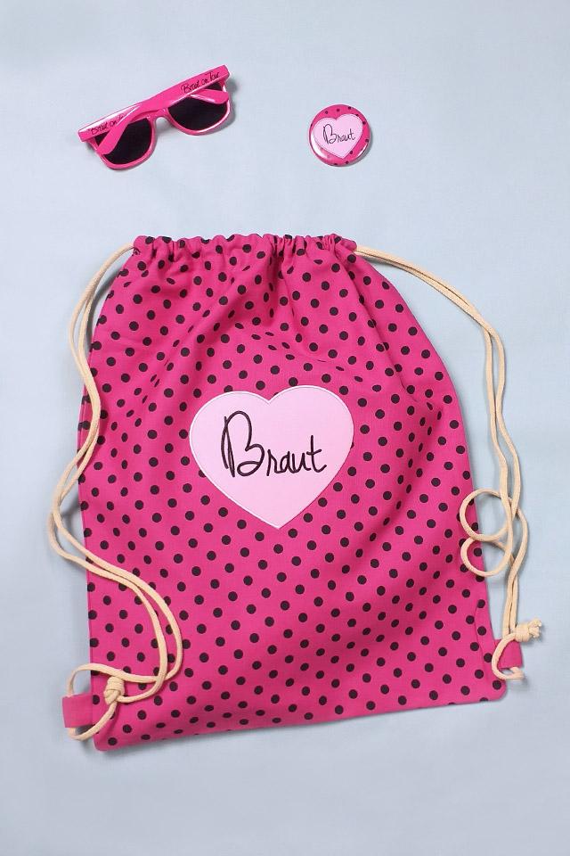 JGA Braut-Accessoires mit Punkten in Pink