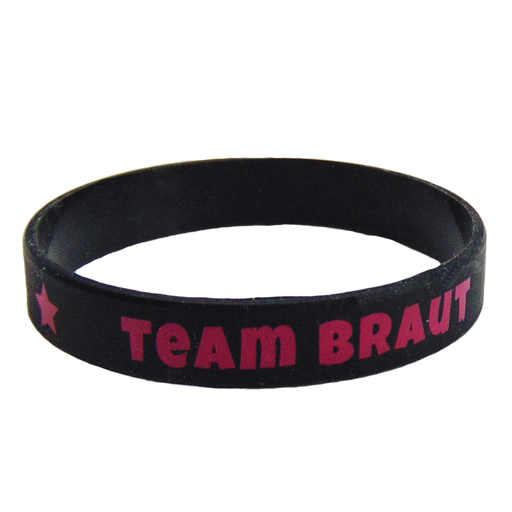 Schwarzes Junggesellenabschied-Armband mit Team Braut-Motiv