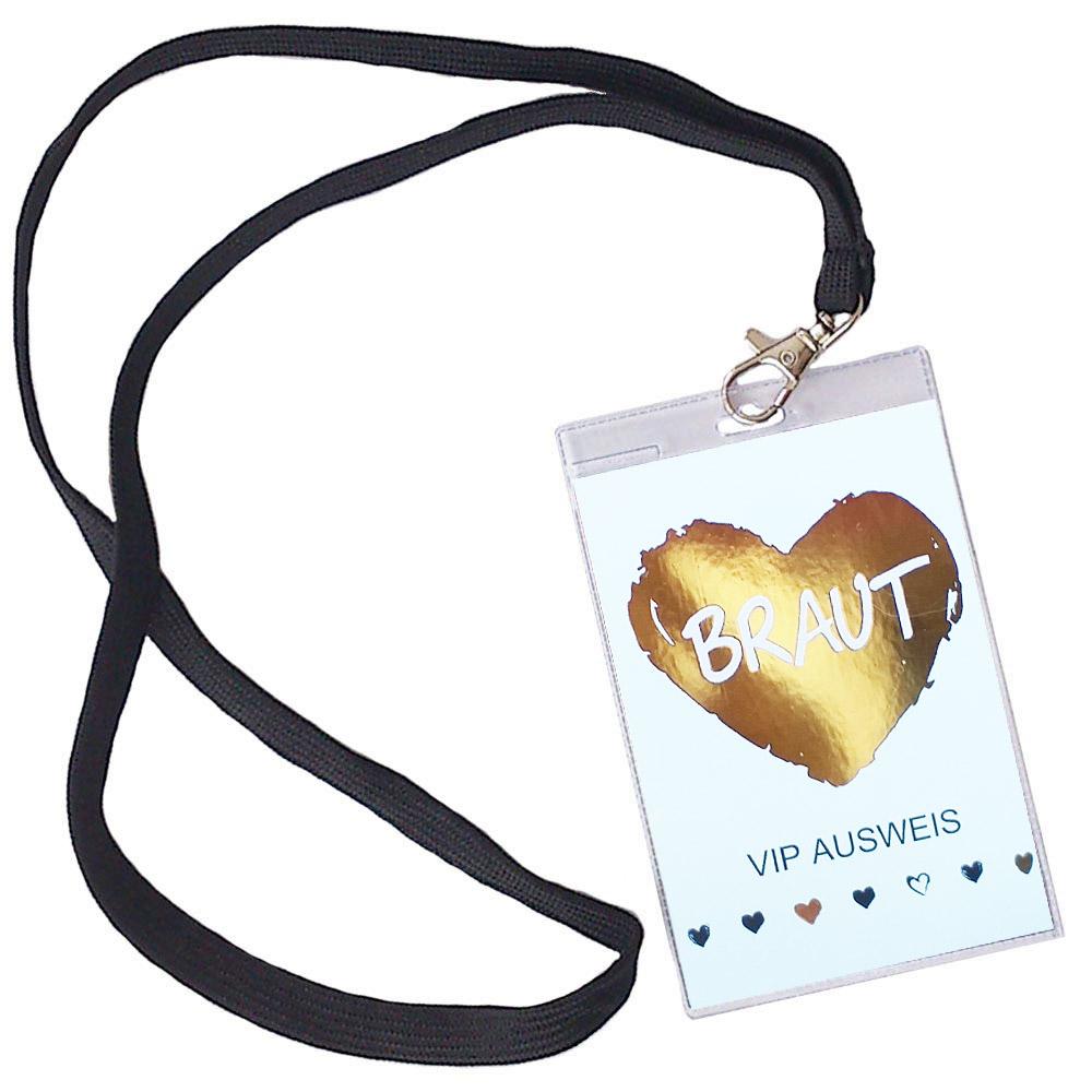 Weisser JGA VIP Ausweis mit goldenem Braut-Herz