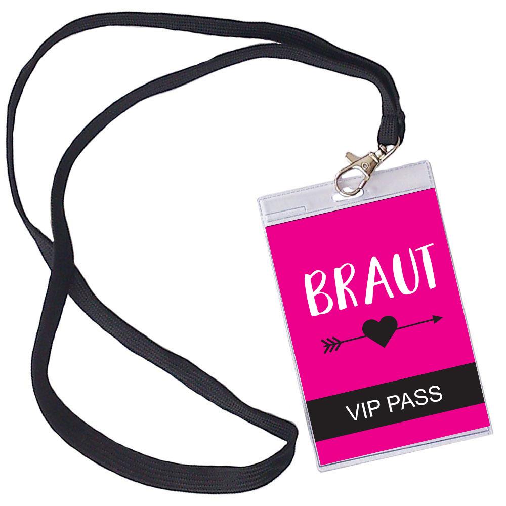 Braut VIP Ausweis fuer den Junggesellinnenabschied - Pink mit Herz und Pfeil