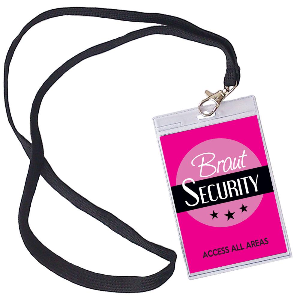 Pinkfarbener Braut Security JGA-Ausweis zum Umhängen