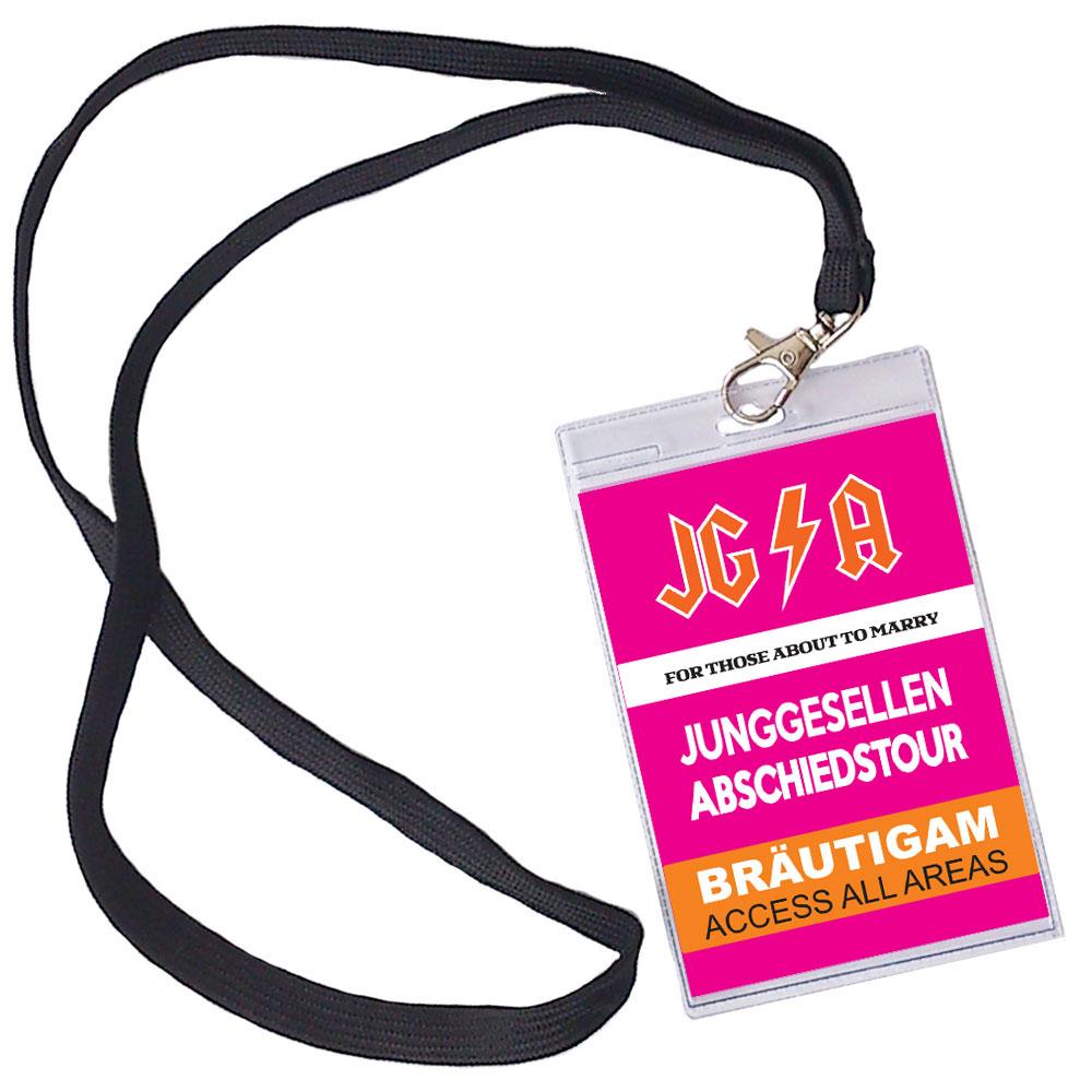 Pinkfarbener Bräutigam-JGA-Ausweis mit Abschiedstour-Motiv