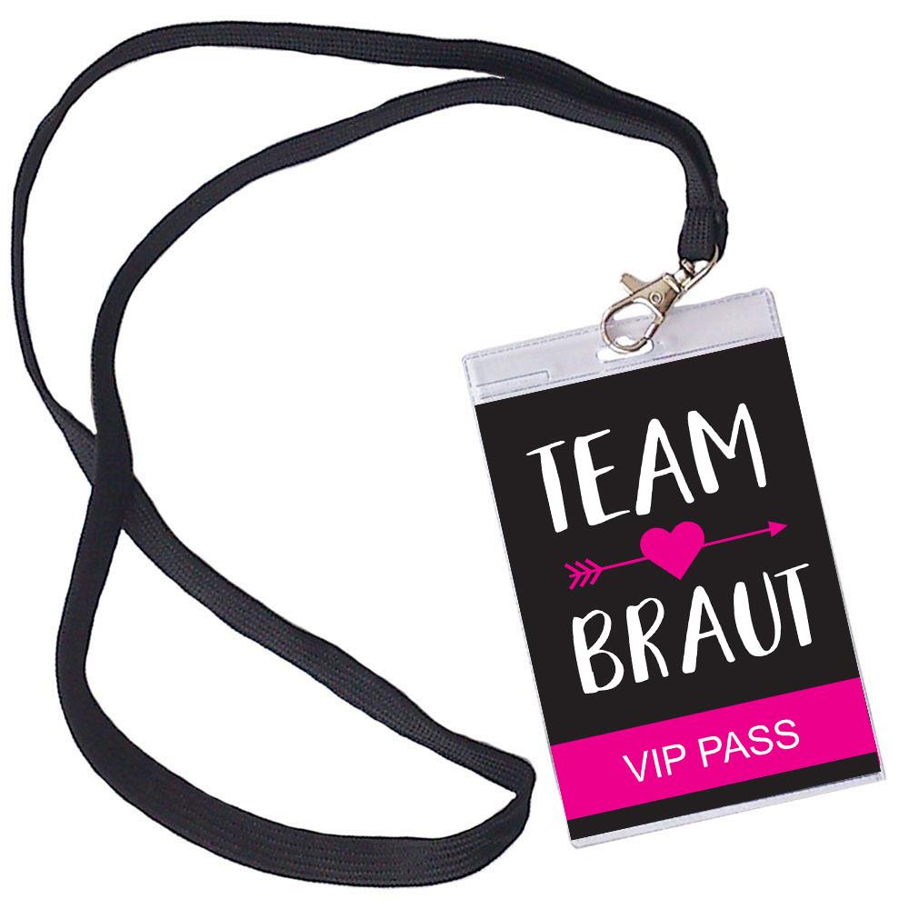 Team Braut JGA Ausweis mit Herz und Pfeil-Motiv - Schwarz