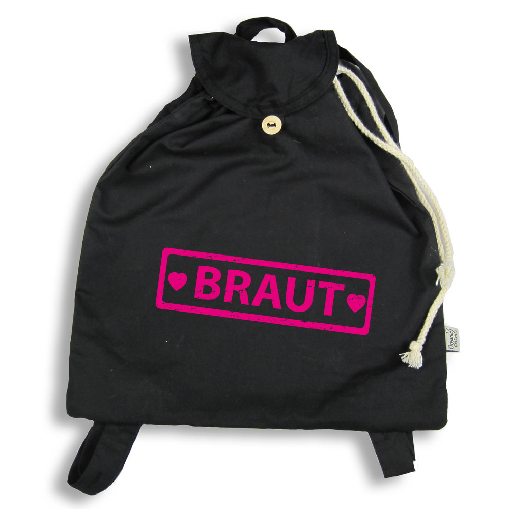 Schwarzer Backpack mit Braut-Schriftzug
