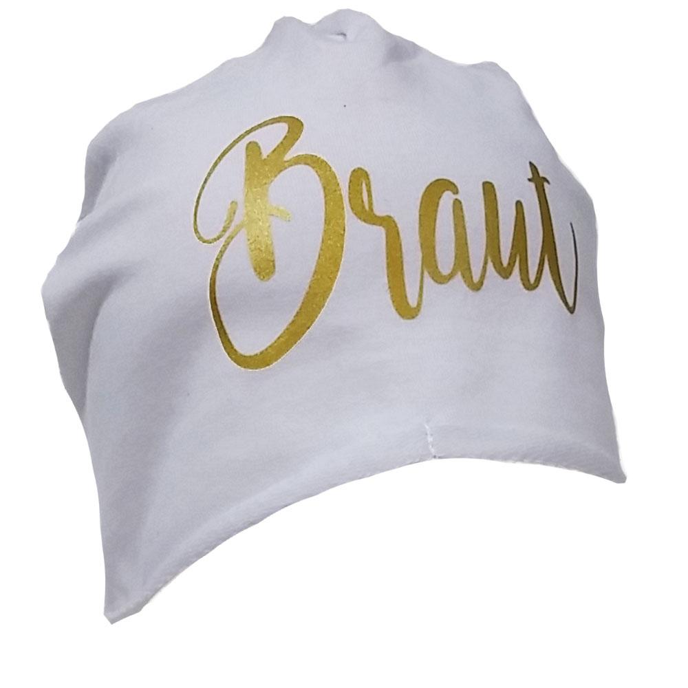 Weisse JGA Beanie-Muetze mit goldfarbenem Braut-Schriftzug