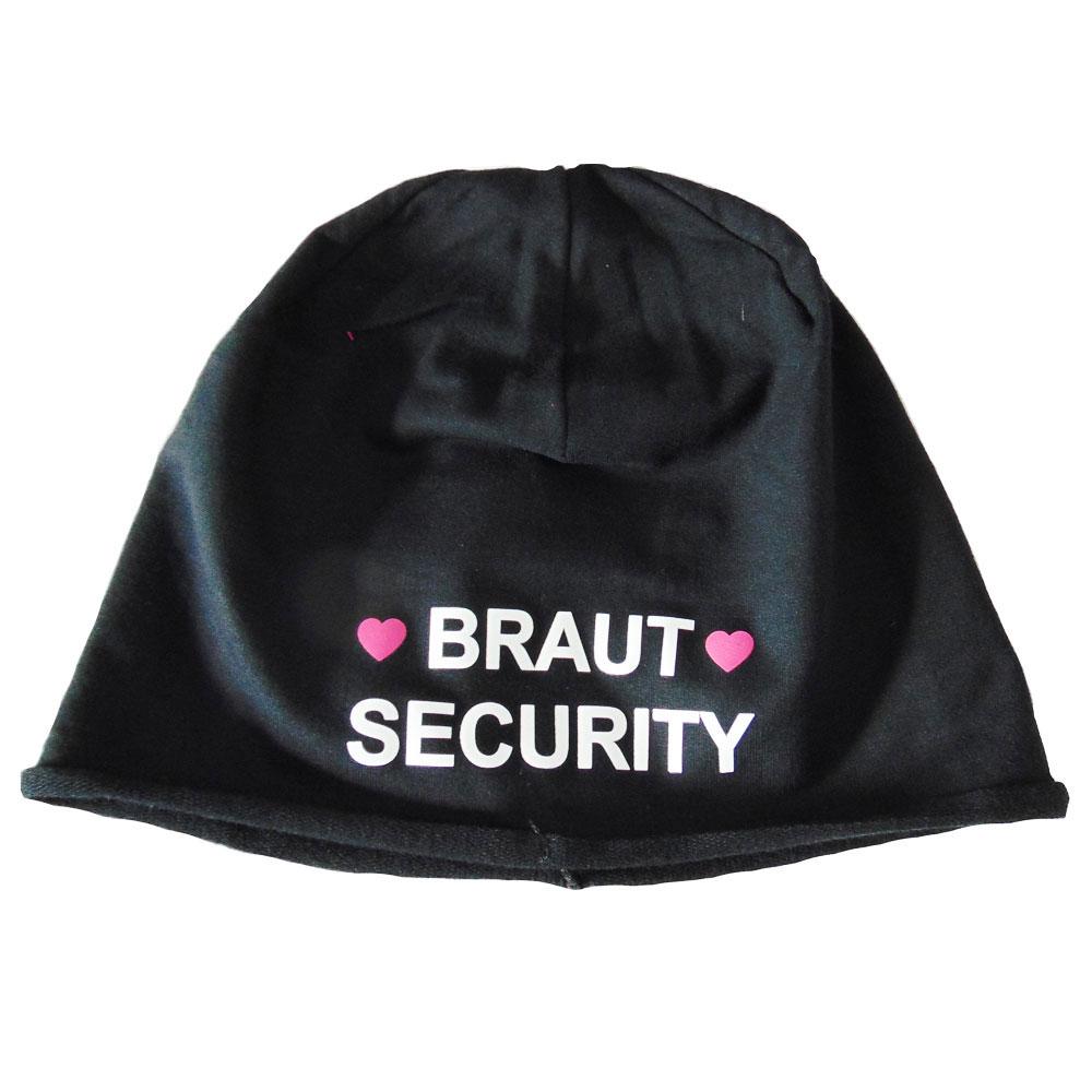 7ffa683cd49 ... Schwarze Junggesellenabschied-Mütze mit Braut Security-Motiv - Aufdruck